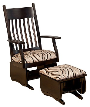 Matching Wooden Glider and Ottoman for Your Family Room